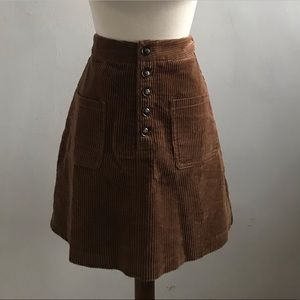 Dresses & Skirts - Lost + Wander Brown Corduroy Mini Button Up Skirt